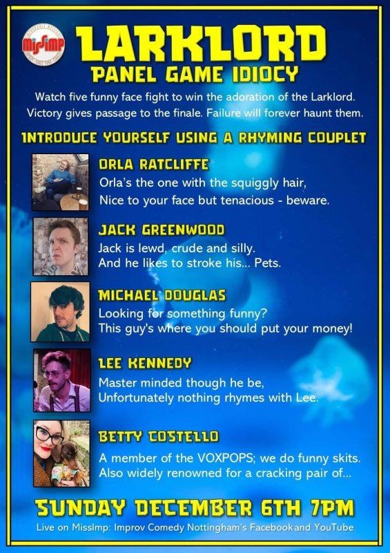 Larklord contestants 6 Dec 2020